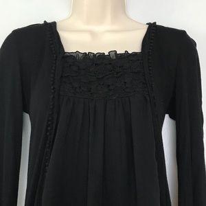 Petticoat Alley Black BabyDoll Lace Blouse